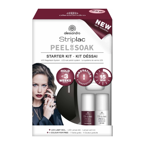 Alessandro Striplac Peel Or Soak Starter Set 126 Velvet Red